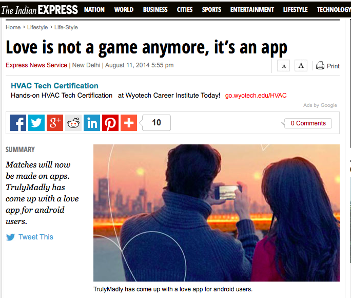 The Indian express trulymadly